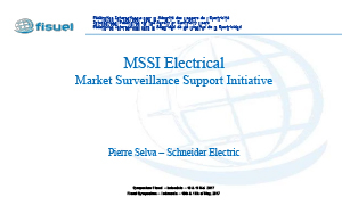 MSSI Electrical Market Surveillance Support Initiative